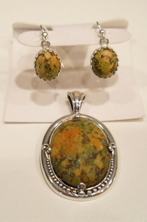 Unakite Earings and Pendant